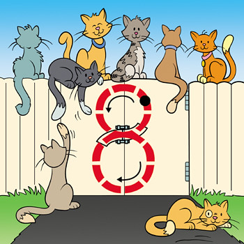 8 Cats on a Fence
