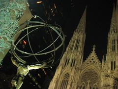 NYC - St. Patrick's Cathedral behind Atlas (wallyg) Tags: nyc newyorkcity sculpture ny newyork church statue night nhl catholic cathedral manhattan gothic perspective stpatrickscathedral rockefellercenter landmark midtown atlas artdeco gothamist stpatrick neogothic saintpatricks stpatricks mythology greekmythology rockefellerplaza saintpatrickscathedral archbishop leelawrie gothicrevival saintpatrick parishchurch renechambellan nationalhistoriclandmark nationalregisterofhistoricplaces ladychapel romancatholicarchdiocese usnationalhistoriclandmark nrhp neobyzantine cathedralofstpatrick neotudor rectoryandcardinalsresidence aia150 cathedralofsaintpatrick usnationalregisterofhistoricplaces newyorkcitylandmarkspreservationcommission nyclpc renepaulchambellan