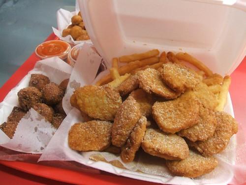 Chicken nuggets, okra