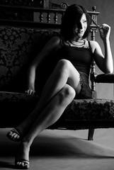 BW (Sakuto) Tags: portrait woman girl beauty sepia studio model legs leg sit bebe sitter