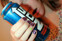 Paintin' your nails like you were bored[Day21]* (Chapendra) Tags: blue orange selfportrait green shiny purple flash fingers nails year2 yeartwo lame openmouth energydrink nos taurine 365days selfbokeh