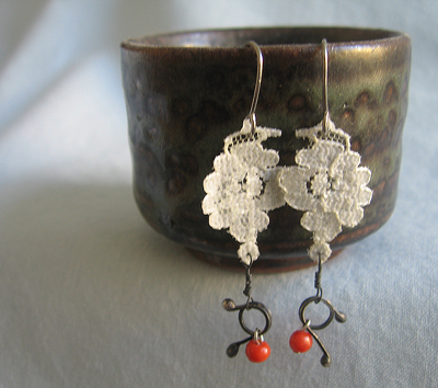 Lace, metal, and coral earrings