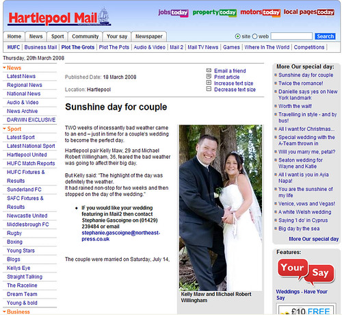 Hartlepool Mail Web-Site Feature.