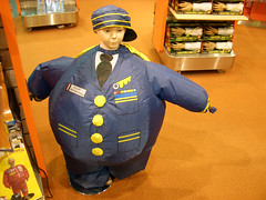Perfect gift for just about anyone: inflatable pilot suit (Ron Reason) Tags: shop airplane airport gate dubai flight passengers emirates international arab boarding dutyfree concourse