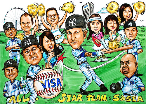 Caricatures VISA Yankees baseball colour marker