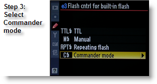 Selecting Commander Mode for the Nikon D300's built-in flash