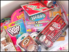 Candy Lipbalms (Hailey Kitten) Tags: yummy betty drpepper snapple nerds hersheys icecream bazooka cocacola lipgloss crocker lipbalm luckycharms twizzlers juniormints icebreakers resses lipsmackers candylipbalm famouscandybrands candyflav