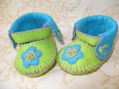 green and lime anckle booties-hand stitched (Funky Shapes) Tags: flowers baby green shower spring shoes handmade zapatos gift bebe etsy slippers booties wholesale botees