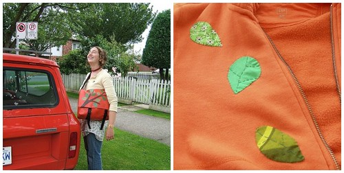 bags and sweater, orange and green