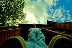Day 317: Cloud Chaser (Nick Today) Tags: blue portrait sky sun feet rain weather clouds self shoes vibrant nick perspective sigma days best sp 365 today gaze 10mm cloudchaser 365days iliketobalanceonmycamerasometimes