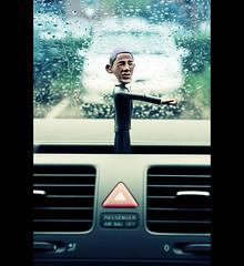 "US President Barack Obama Says ""Why Does It Always Rain On Me?"" (©Komatoes) Tags: window car rain us crossprocessed bokeh president windscreen obama barackobama barack"