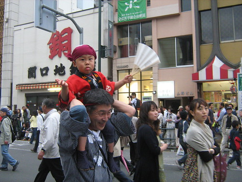 Cute fan-wielding boy at the Sanja Matsuri