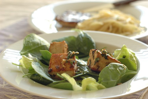 Leafy Green Salad with Grilled Tofu