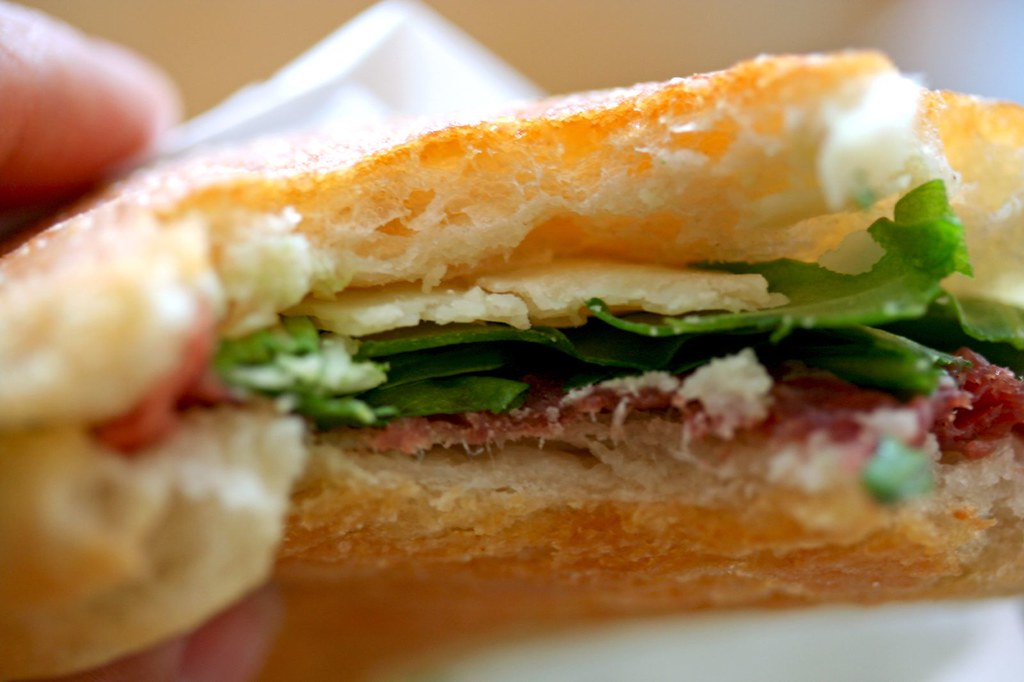 Innards of Bresaola sandwich