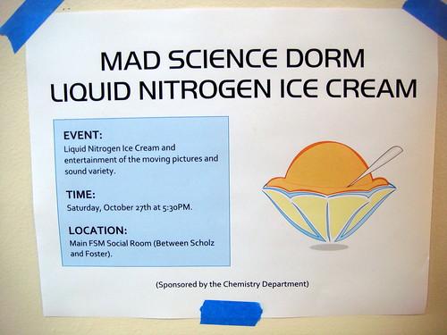 Liquid nitrogen ice cream at Reed College