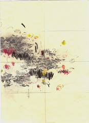 Museum Piece B (Tom Moglu) Tags: abstract pencil paper watercolour folded dyptich chinagraph