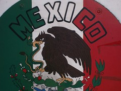 a mexico flag mural