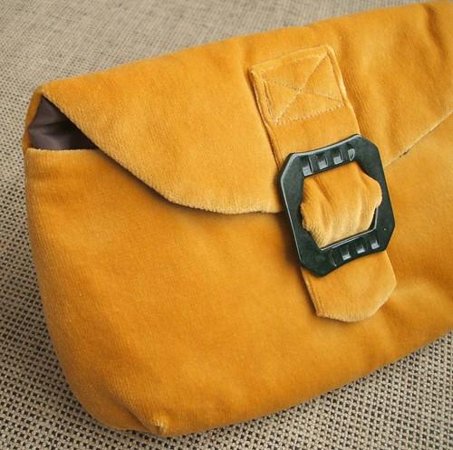 Vintage antique gold velvet clutch