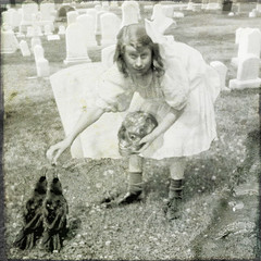 The Gravedigger's Daughter (crowolf) Tags: cemetery vintage twins eyes birdfeeder loc macabre crows fauxvintage baltimorecemetery corvids svf strangevintagefictions crowolf twacorbies daskabinett fauxambrotype libraryofcongressbaincollection shekindacreepsmeouttoo