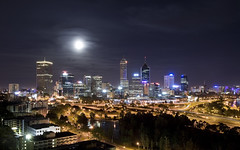 Perth from Kings Park (Sarmu) Tags: city light wallpaper urban moon building skyline architecture night skyscraper lights highresolution downtown cityscape view skyscrapers nightshot dusk widescreen australia 1600 perth highdefinition resolution wa 1200 moonlight cbd hd wallpapers westernaustralia 1920 vantage 2007 vantagepoint ws 1080 1050 720p 1080p urbanity kingspoint 1680 720 2560 sarmu