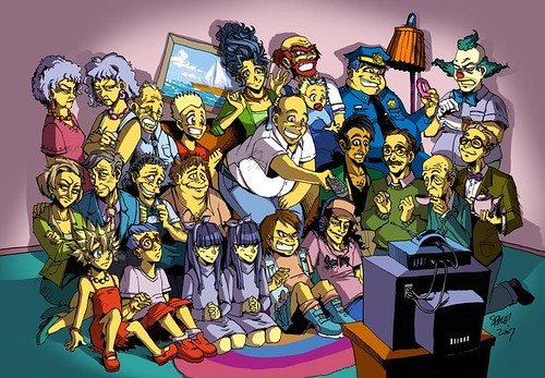 Someone drew the characters of The Simpsons in manga . I like how