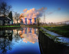 Two for one (Corica) Tags: reflection photoshop canal smoke wideangle staffordshire coolingtower midlands rugeley twoforone trentmerseycanal photomatix sigma1020 canon400d rugeleypowerstation