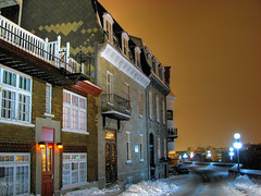 Rue des remparts - Old Quebec (Nino H) Tags: street winter snow canada building architecture night bravo quebec hiver qubec neige rue nuit hdr vieuxqubec oldquebec mywinners desremparts anawesomeshot photoquebec