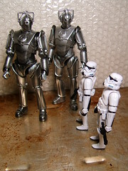 Dude, these are SOOO not the 'droids we're looking for. (Doctor Beef) Tags: toy actionfigure stormtrooper cyberman simonthecyberman rogerthecyberman andthenthereweretwo