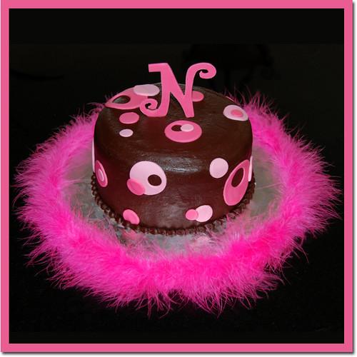 Monogram Pink Sassy Circles Cake