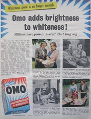 OMO, Blue Washing Powder adds brightness to Whiteness! (Lady Wulfrun) Tags: blue day market 1954 powder international wash washing brightness synthetic manufactured detergent unilever whiteness omo launched boils unilevers internationalbrand