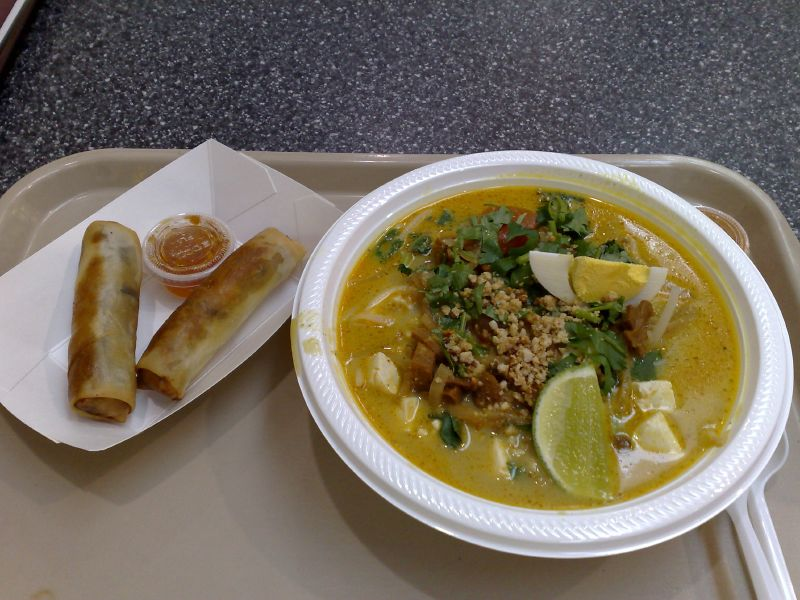 Spring rolls and Vegetarian Rice Noodle Curry Soup