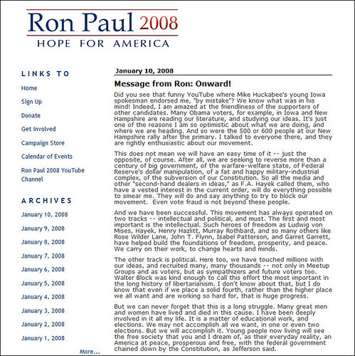 Ron Paul Blog - no South Carolina Debate information