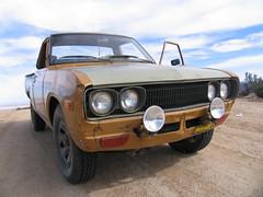 Datsun face (kneesamo) Tags: road forest fire angeles pickup national 1973 datsun butterscotch 620 l20b bulletside pl620