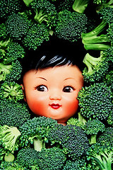 Brocc-Ollie (boopsie.daisy) Tags: food silly cute green strange face yummy crazy funny doll oliver broccoli vegetable ollie odd bunch wacky quirky lots dollhead kooky grubclub 10faves cunchy wowiekazowie top20green 1on1colorfulphotooftheweek 1on1colorfulphotooftheweekfebruary2008