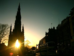 Princes Street (angus mcdiarmid) Tags: sunset sun cinema edinburgh princesstreet cameo scottmonument