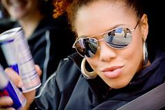 (ConradLandais) Tags: nyc portrait newyork sunglasses brooklyn streetphotography shades lips williamsburg gothamist redbull hoopearrings saturdayafternoon lovelyladies streetshooting redbullgirls puckeredlips adobelightroom canonf1885mm