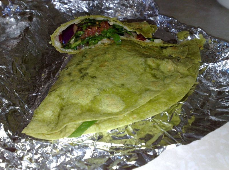 Spinach, tomato, and cheese quesidilla
