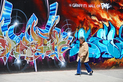 graffiti hall of fame (jovivebo) Tags: nyc newyorkcity woman usa ny newyork topf25 graffiti us mural harlem manhattan vivid walkingstick eastharlem graffitihalloffame top20colorpix