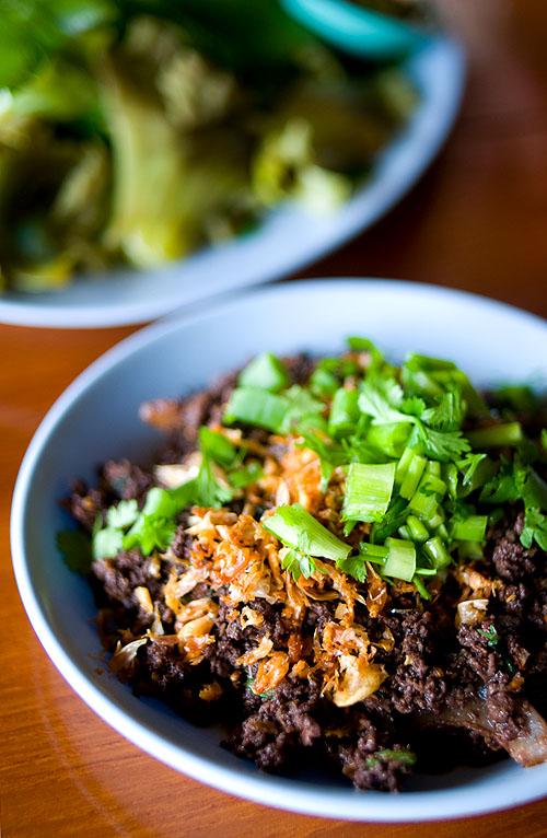 Laap khua, 'fried laap', Laap Khom Huay Puu, Pai, Mae Hong Son, Thailand