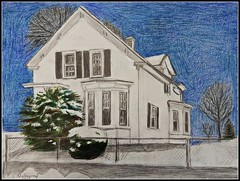 Colored Pencil Drawing Of A White House In Winter At Nighttime - Drawn by STEVEN CHATEAUNEUF (2017) (snc145) Tags: winter seasons sky snow trees bushes fence sidewalk house architecture art artist artists drawing pencil coloredpencil night nighttime evening landscape scenery outdoor detail blue green white black gray 2017 stevenchateauneuf mixedmedia flickrunitedaward
