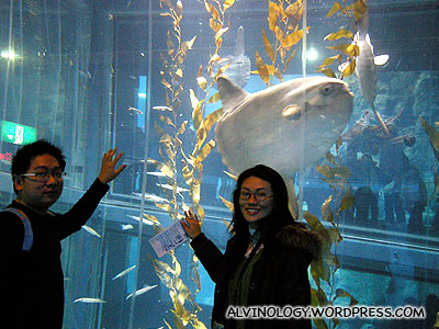 Rachel and I with the strange looking tail-less sun fish