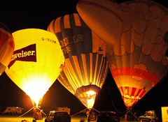 Burnley Hot Air Balloon Nightglow (Tony Worrall Foto) Tags: england night outside fire gold golden evening northwest dusk lancashire hotairballoon lit blowup burnley lancs litup nightglow towneleypark