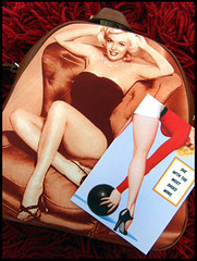 Classic Vintage Pin-Ups /Sent (Hailey Kitten) Tags: classic leather vintage bag marilynmonroe postcard swap backpack pinup pinups vintagepinups swapbot