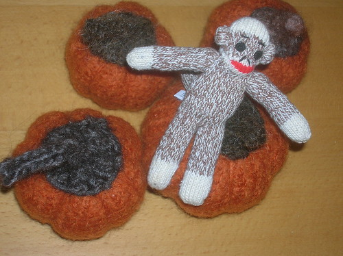Sock Monkey in Pumpkin Patch