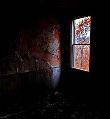 (paulh192) Tags: red house abandoned window farmhouse bedroom shadows michigan naturallight autumncolors montcalmcounty jalalspagesmasterpiecealbum