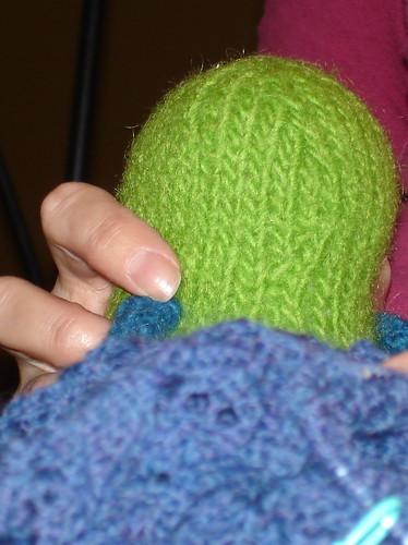 Henry, fondling Miss Me's knitting