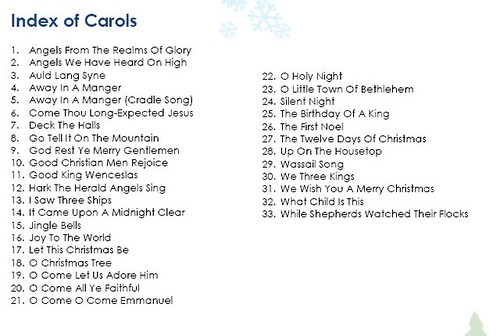 List Of Christmas Carols - Artistinaction
