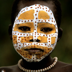 AFRICA (BoazImages) Tags: africa portrait art girl face colorful paint body culture tribal omovalley surma indigenous littlestories fivestarsgallery abigfave aplusphoto boazimages picswithsoul mastersoflifegallery