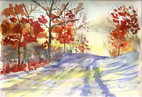 Watercolor Landscape - Late Fall