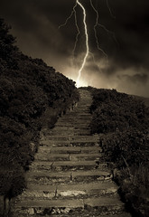 Arthur's Stormy Steps (Semi-detached) Tags: park storm clouds dark scotland edinburgh top seat steps meadows holyrood brooding lightning arthurs 35faves diamondclassphotographer flickrdiamond betterthangood